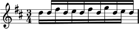 Alternating semiquavers in Lilypond: example